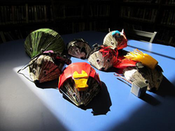 Avengers hedgehogs made out of old graphic novels, at the Brookline, MA library